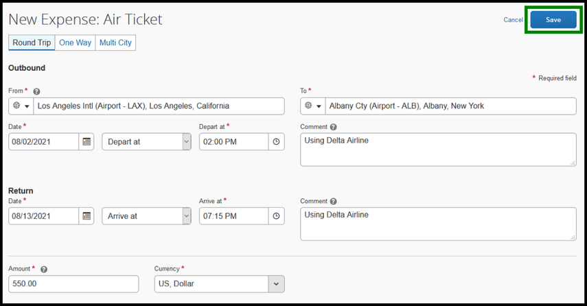 Click on the Save button when you are done filling out the air ticket expense. Green highlight showing location of save button.