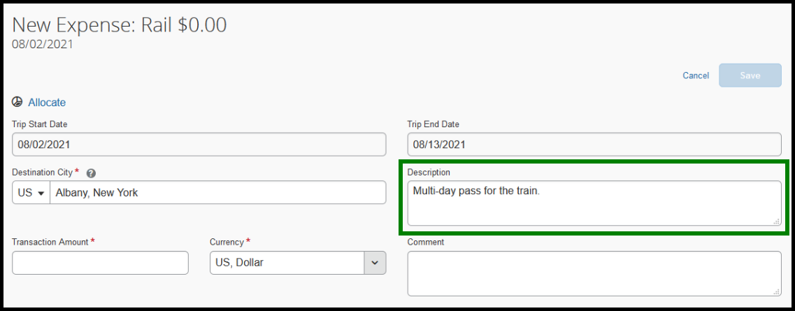 Within the rail expense type, the description box is highlighted with a green square. Inside the text box, the following is written; multi-day pass for the train.