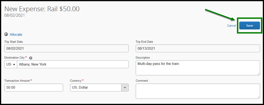 Within the rail expense type, there is a green arrow and square highlighting the save option on the bottom right corner.
