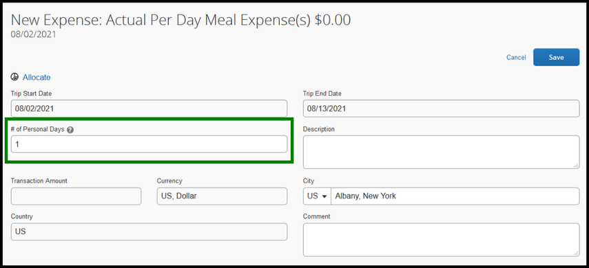Within the actual per day meal expense field, there is a zoomed in image of the number of personal days. Within the field, a number one has been inputted.