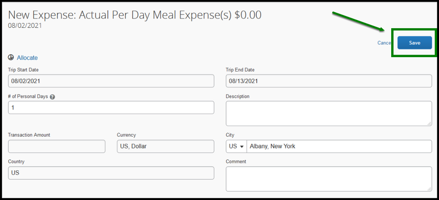 Within the actual per day meal expense field, there is a zoomed in image that shows a green square highlighting the save option.