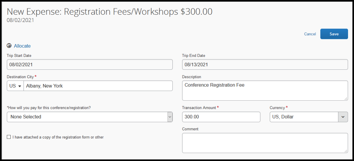 """Within the registration fees/workshops expense,  there is a zoomed in image of the description box. Within this text box, """"Conference registration fee"""" has been inputted."""