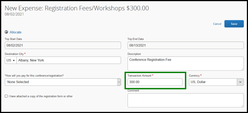 Within the registration fees/workshops expense, there is a zoomed in image of the transaction amount field. $300 dollars has been inputted into the field.