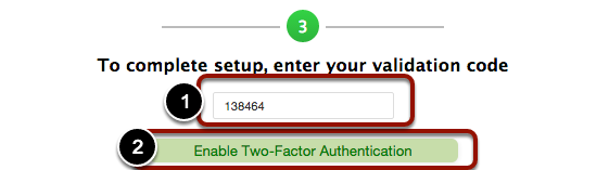 """5. Scan the barcode, and click """"Enable Two-Factor Authentication""""."""