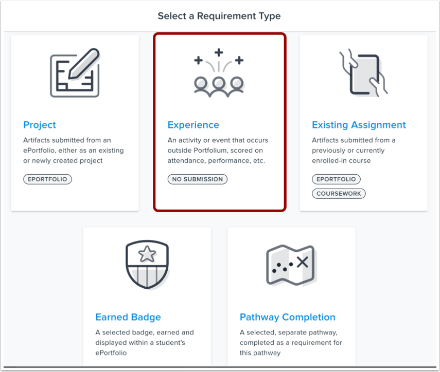 Select Experience Requirement Type
