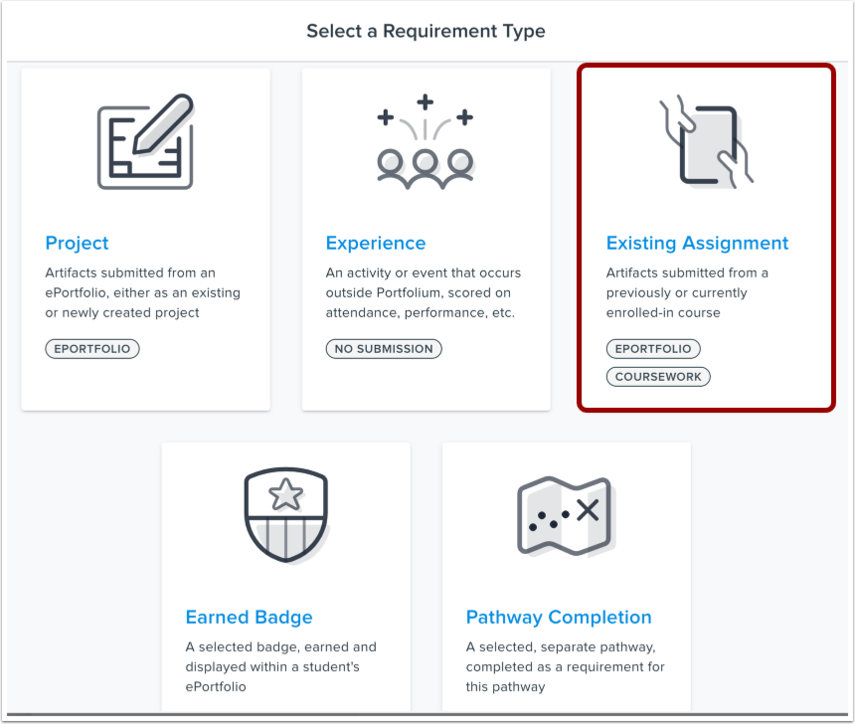 Select Existing Assignment Requirement Type