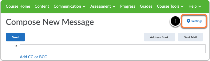 In Compese New Message page click Settings in the upper right corner, below the green navigation bar