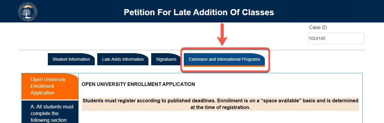 Arrow pointing to Extension and International Programs tab