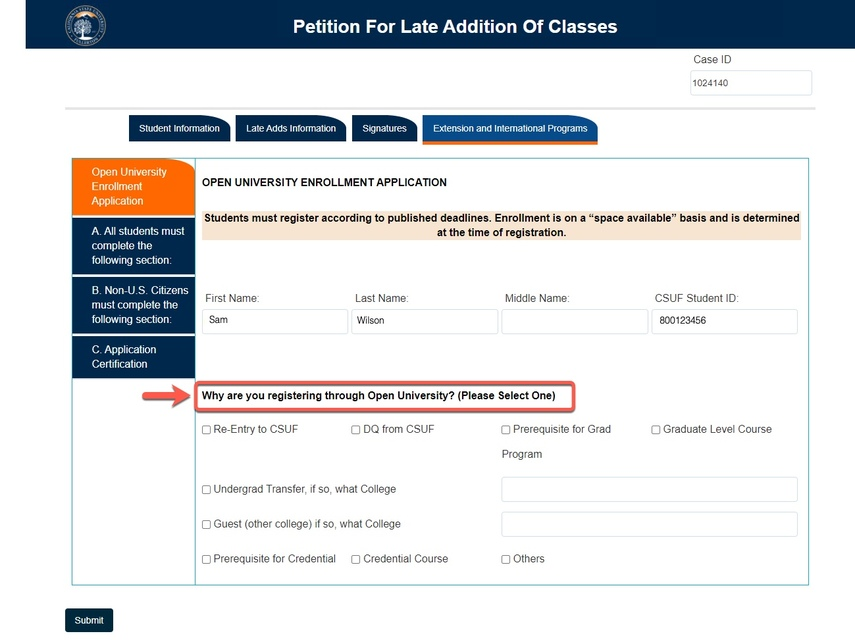 Arrow pointing to Enrollment Application question