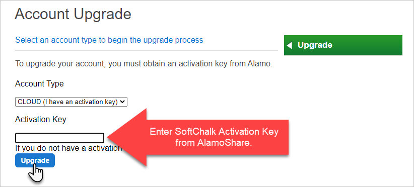 Enter the activation key for the Alamo Colleges SoftChalk Cloud account