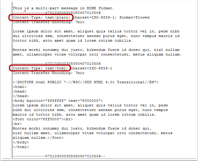 Let's take a look at the message source which tells us how exactly it was sent: