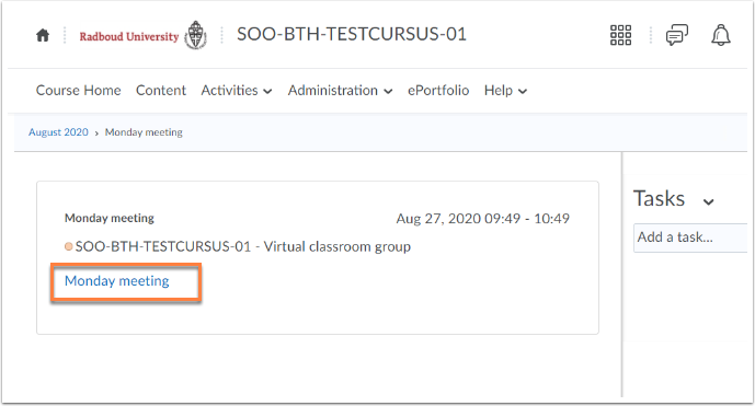 Course Schedule - SOO-BTH-TESTCURSUS-01 - Google Chrome