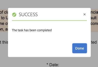 Task completion pop-up