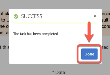 Arrow pointing to Done button