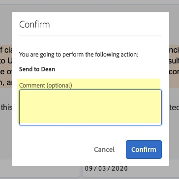 Highlight of Comment field in Confirm pop-up window