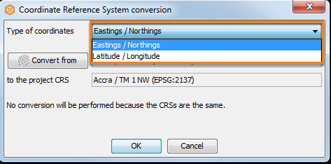 Select the type of coordinates