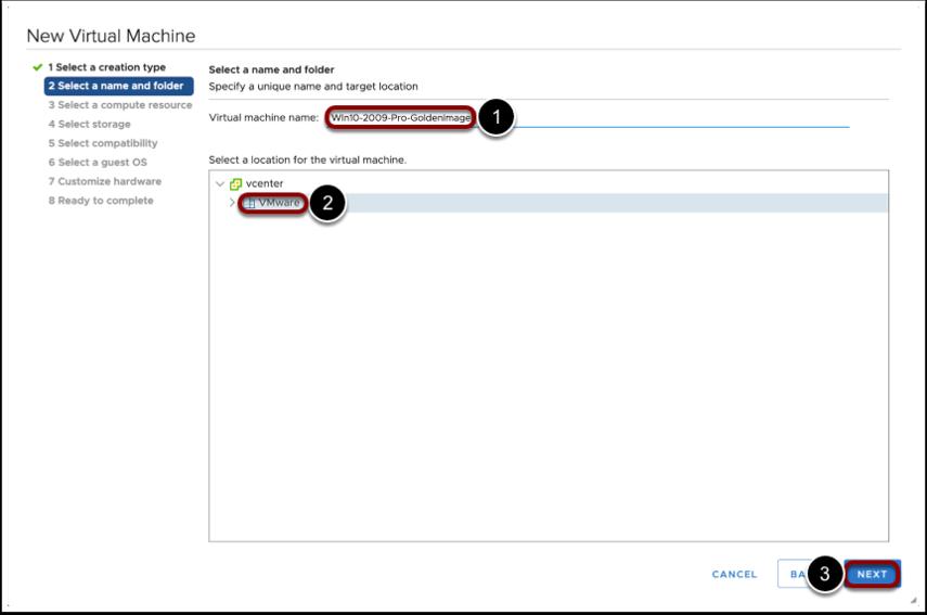 Configure VM details for the Windows 10 image.