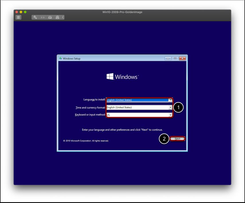 Select regional settings for Windows imaging.