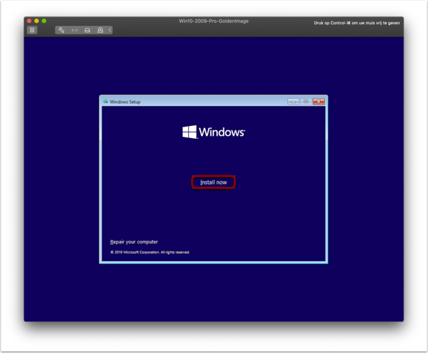 Begin installing OS for the Windows 10 image.