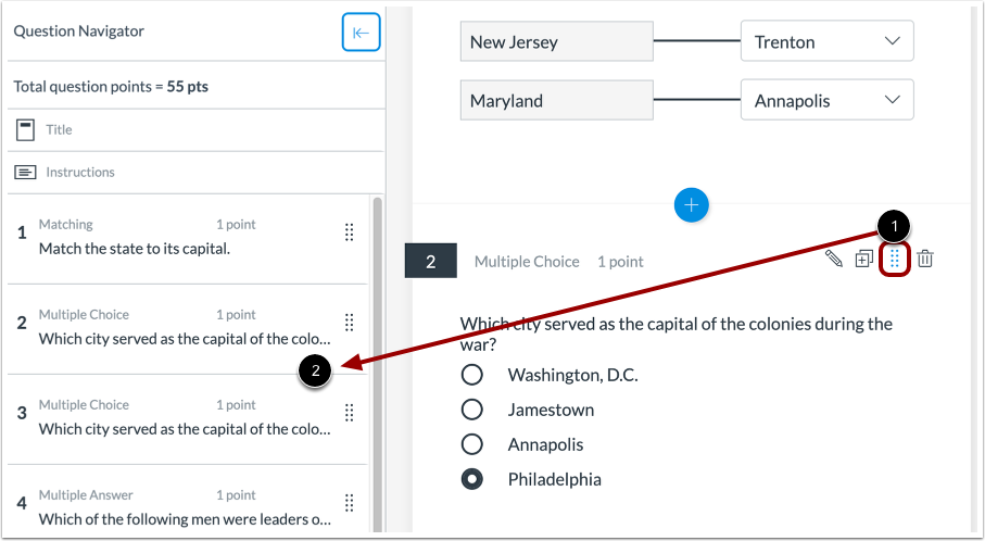 Drag and Drop into Question Navigator