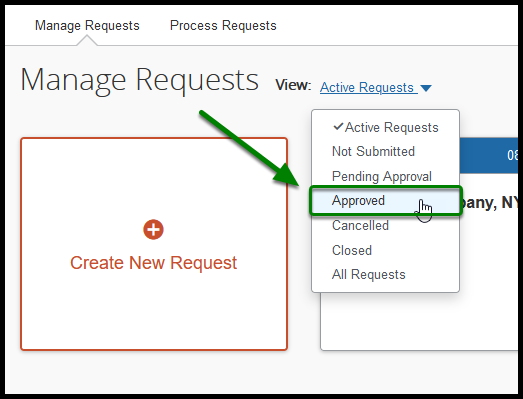 Active Requests window. The View option has been clicked on, and a drop-down has emerged. In the drop-down, the Approved option has been selected, and there is a green arrow pointing towards it.