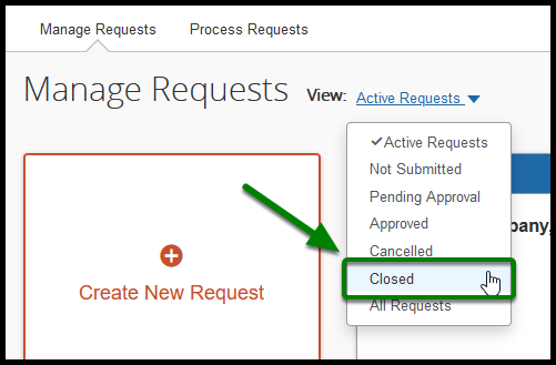 Approved Requests page. Under the View button, a mouse is hovering over the Closed option. There is a green arrow pointing towards it.