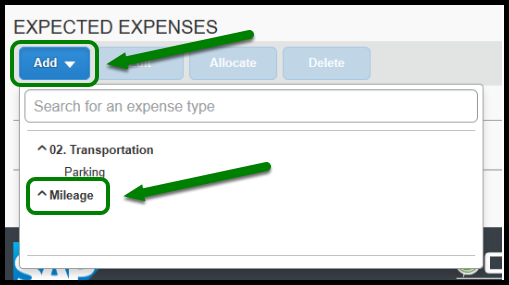 Green arrow and box highlighting the Add button and Mileage expense type.