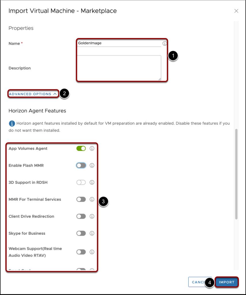 Define import VM settings for Windows images.