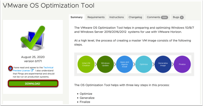 Download the OS Optimization Tool for Windows imaging.