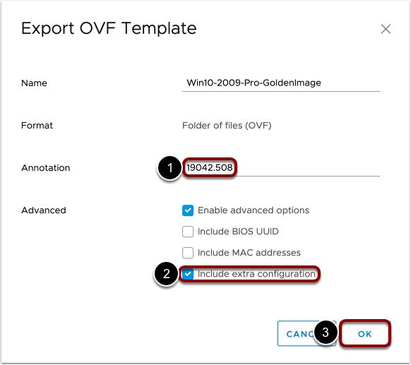 Export OVF template for Windows images.