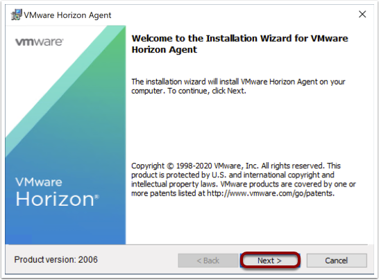 Start Horizon agent wizard to install agent on Windows 10 image.