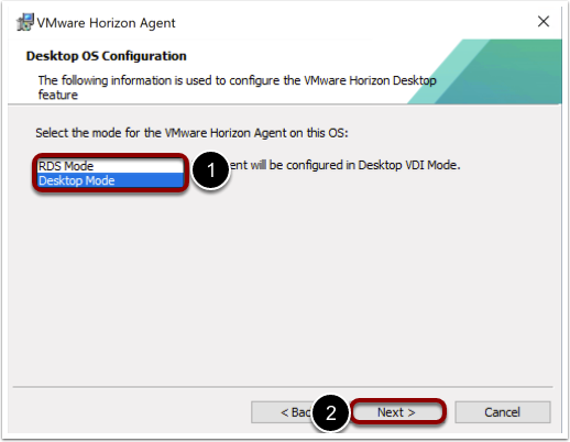 Select the Horizon agent mode when Windows imaging.
