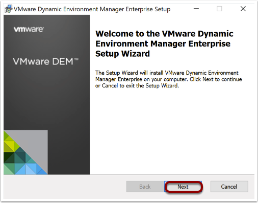 Install Dynamic Environment Manager agent on Windows 10 image.