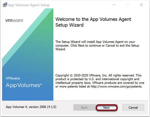 Navigate through the wizard to install the AV Agent on Windows 10 image.