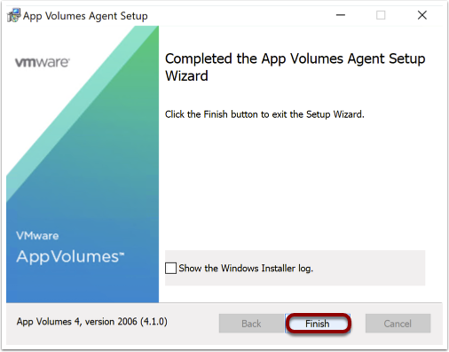 Complete the App Volumes wizard to install AV agent on Windows 10 image.