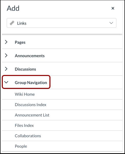 Insert Group Navigation Link