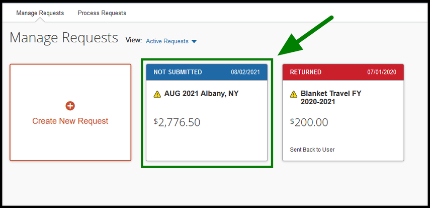 "Active Requests tab. There are two requests in display. One of the requests is labeled, ""AUG 2021 Albany, NY."" This request is highlighted in green, and has a green arrow pointing towards it."