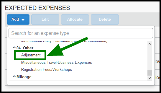 "List of expenses is opened. There is a green arrow pointing towards the ""Adjustment Expense"" option."