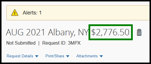 The total amount of the travel request is highlighted by a green box.