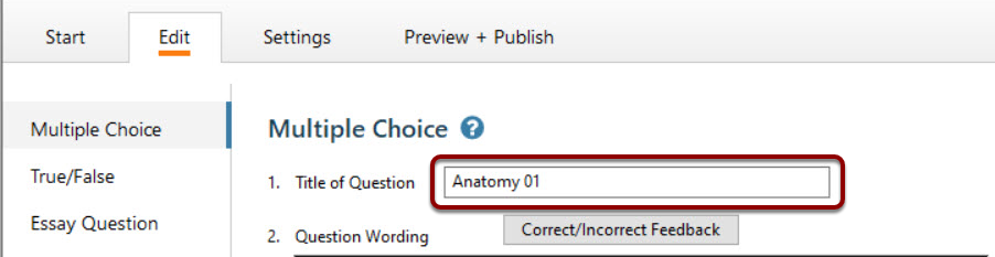 Title of Question field is selected