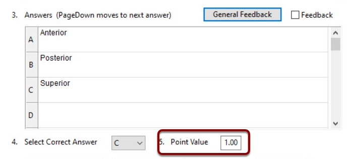 Point Value field selected