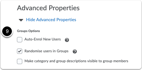 Advanced properties of the group category settings