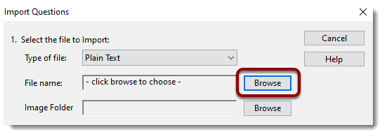Browse button selected
