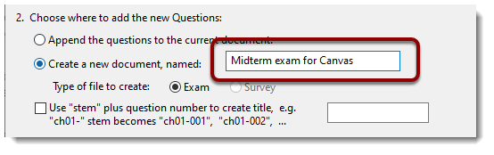 Create new document, named field is selected