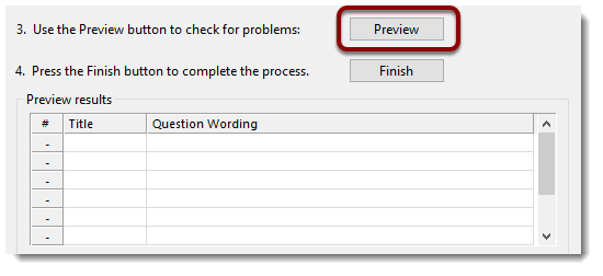Preview button selected