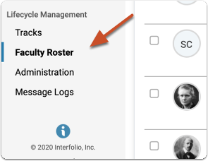 Navigate to the list of faculty