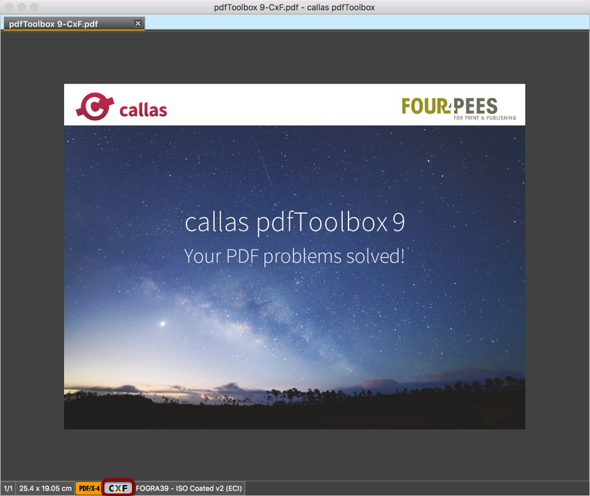 Öffnen Sie eine PDF-Datei, die CxF-Information angehängt hat