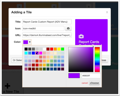 Color Menu Preview