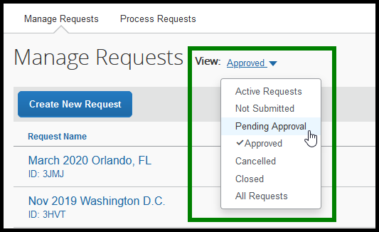Green box highlighting the View option and Pending Approvals selection.