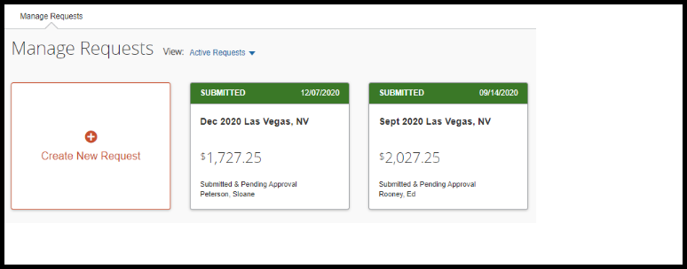 Requests dashboard that shows available travel request that can be copied.
